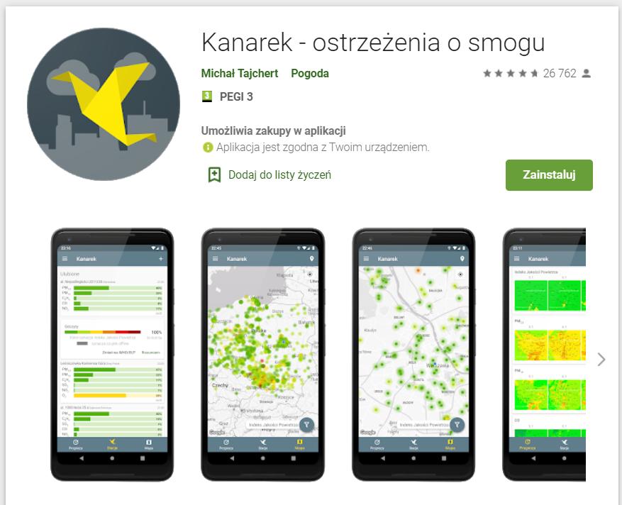 Ostrzeżenia o smogu w Polsce - Aplikacja na smartfon