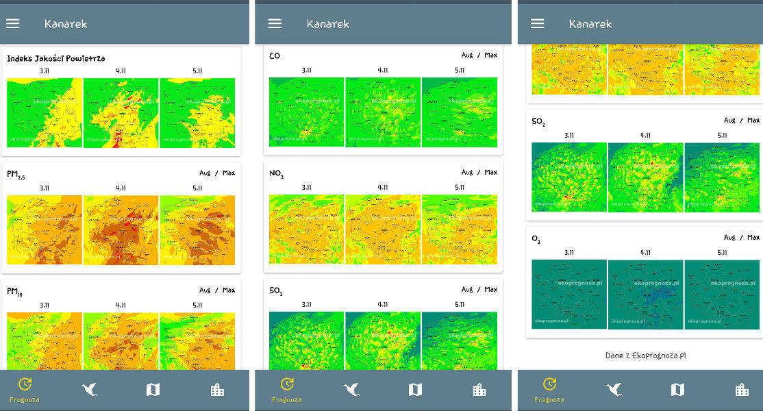 Mapy jakości powietrza w aplikacji Kanarek