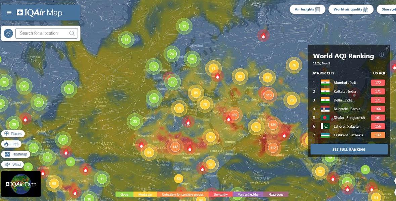 Mapa jakości powietrza IQAIR