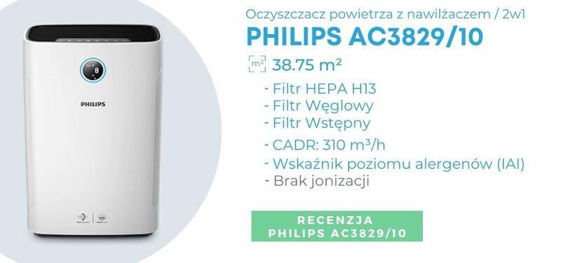 Oczyszczacz powietrza z nawilżaczem Philips dla alergików i astmatyków