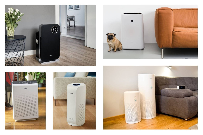 Zdjęcia oczyszczaczy powietrza w kolejności (od góry: Klarta Forste 3, Sharp KC-D50, Winix Zero, Philips Dual Scan, LIFAair