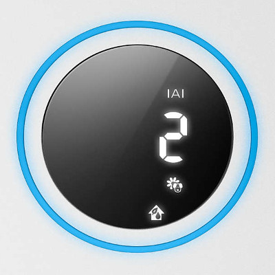 Wskaźnik poziomu alergenów i kolorystyczny wskaźnik jakości powietrza w oczyszczaczu Philips AC3829/10.