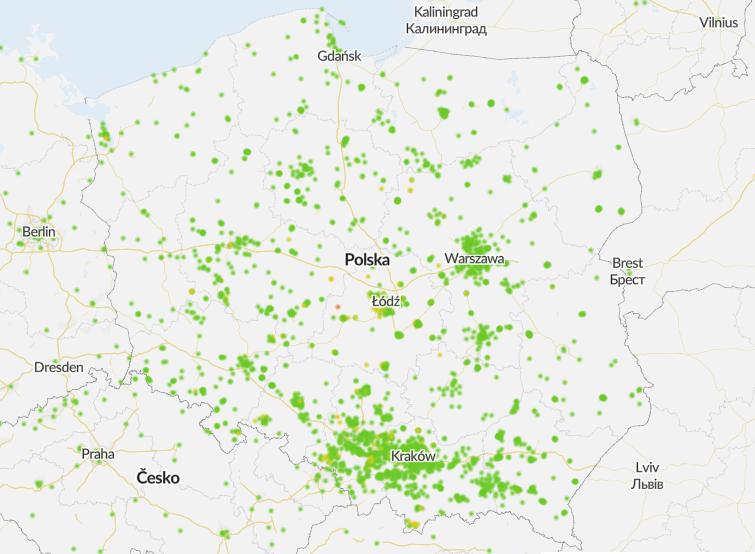 Mapa zanieczyszczeń Polski Airly