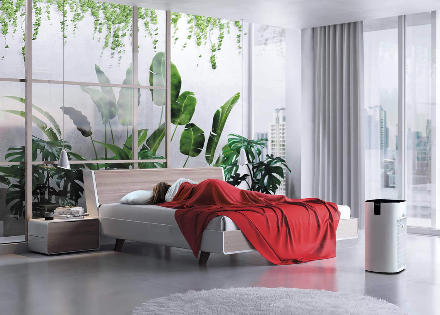 Oczyszczacz powietrza TOSHIBA CAF-X116XPL w sypialni