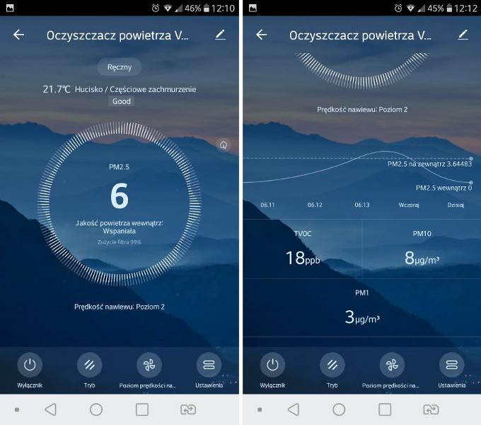 Scan z aplikacji oczyszczacza Vestfrost