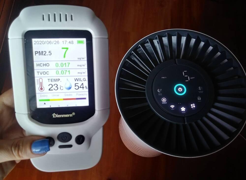 test oczyszczacza powietrza vestfrost z czujnikiem pyłów pm2.5 wybierzpczyszczacz.pl