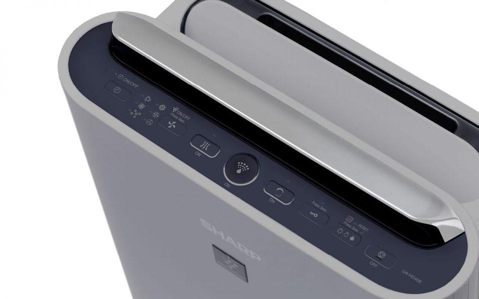 Panel sterowania w oczyszczaczu Sharp UA-HD50E-L